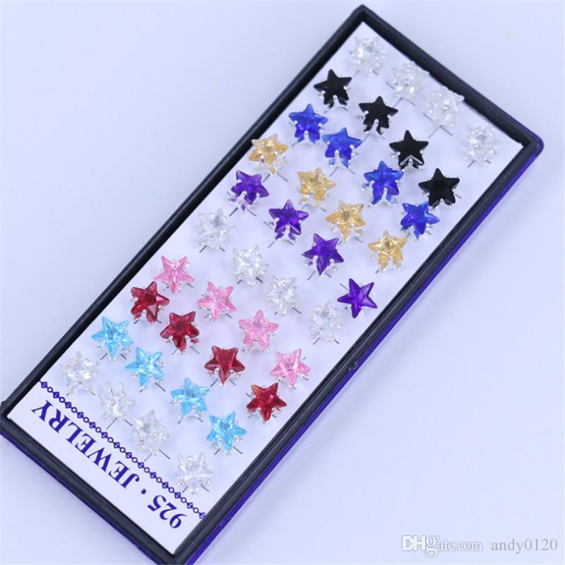 / 5BOX Stili misti 925 gioielli in argento sterling moda attraente color cristallo orecchini regalo le ragazze