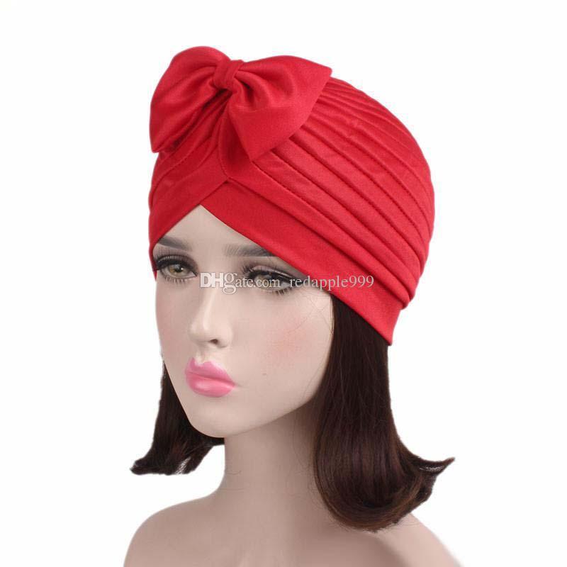 cc967d0fb1f 2017 New Fashion Women Bow Bowknot Ruffle Turban Women Hair Cap Head ...