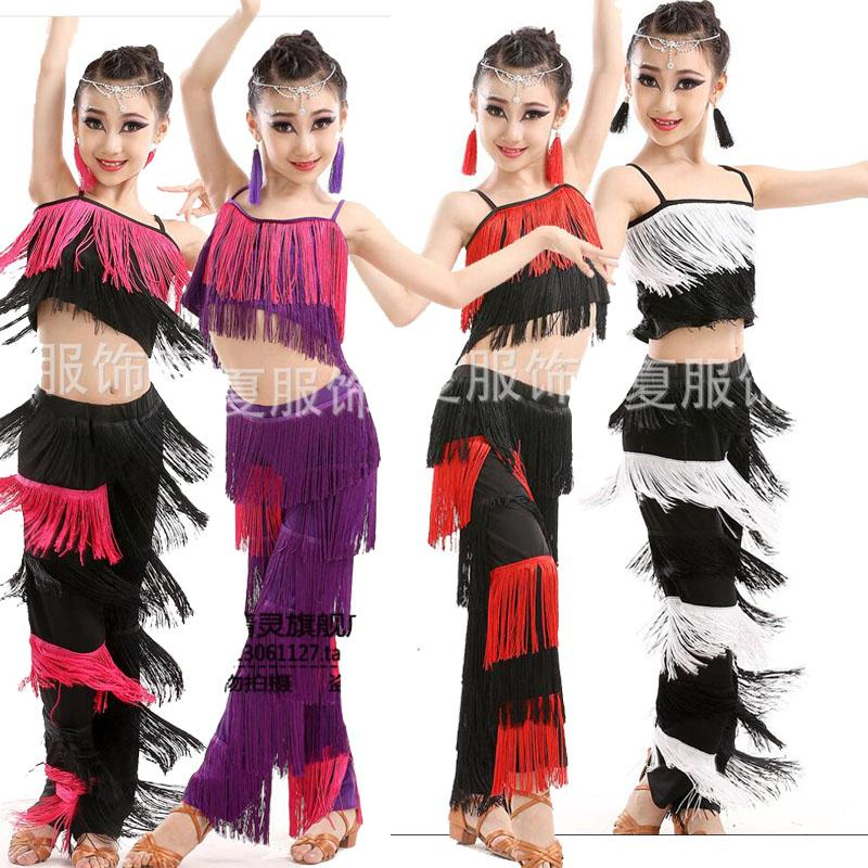 eed4f87b6 2019 Girls Latin Dancing Dresses Ballroom Costumes Kids Fringe Tassel Dress  Pants Sequined Fringe Salsa Samba Costumes Outfits Child From Smotthwatch,  ...