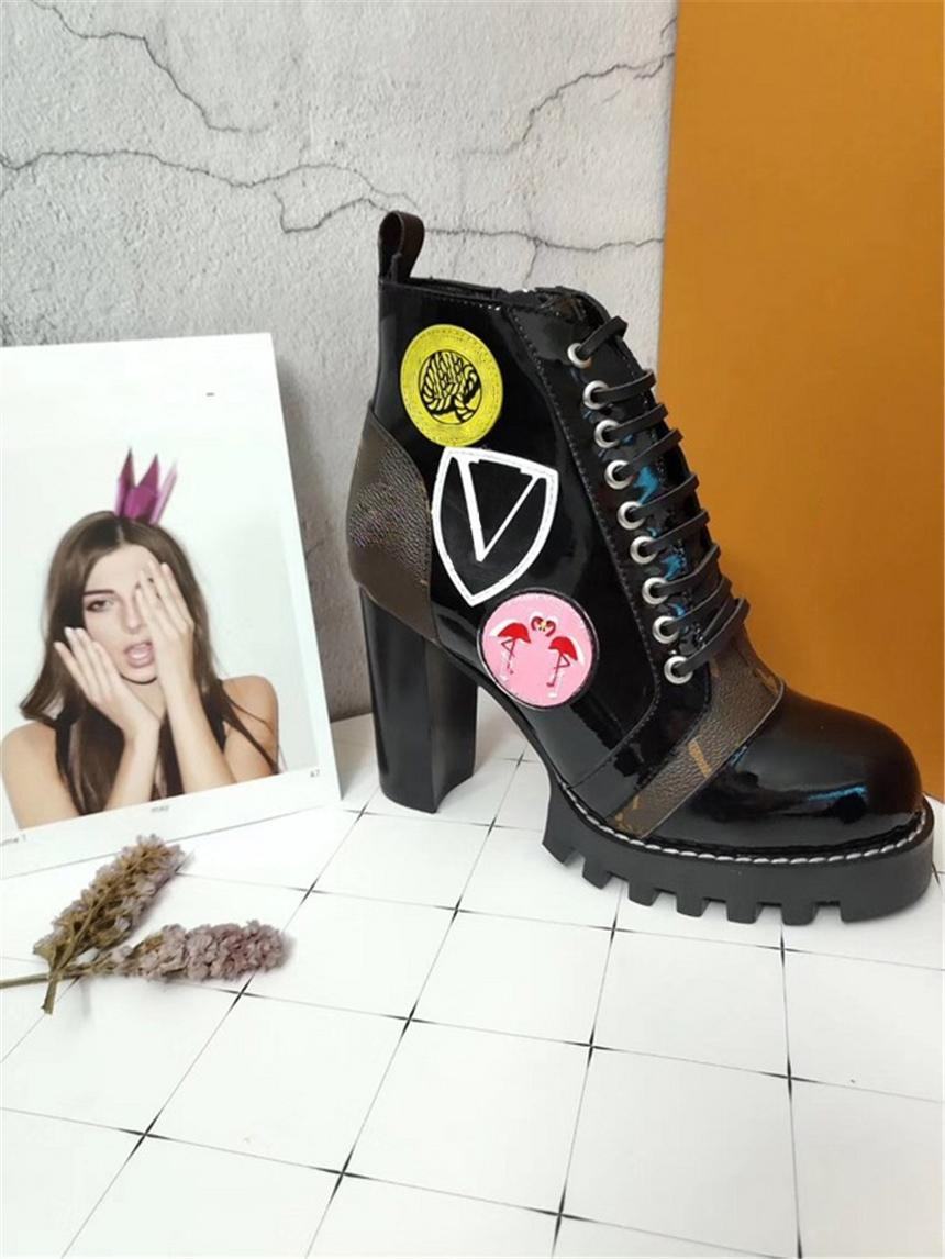 Luxury Brand Star Trail Ankle Boot High Heeled Heel Shoes Booties