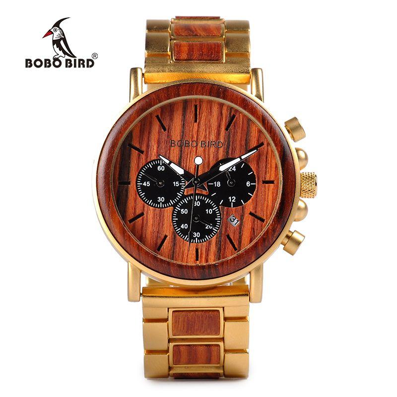 afb73b8b2c0 Compre Bobo Bird Marca De Luxo Homens Relógio Relogio Masculino Madeira De Aço  Inoxidável Combinado Cronógrafo De Quartzo Relógios De Quartzo De Uline