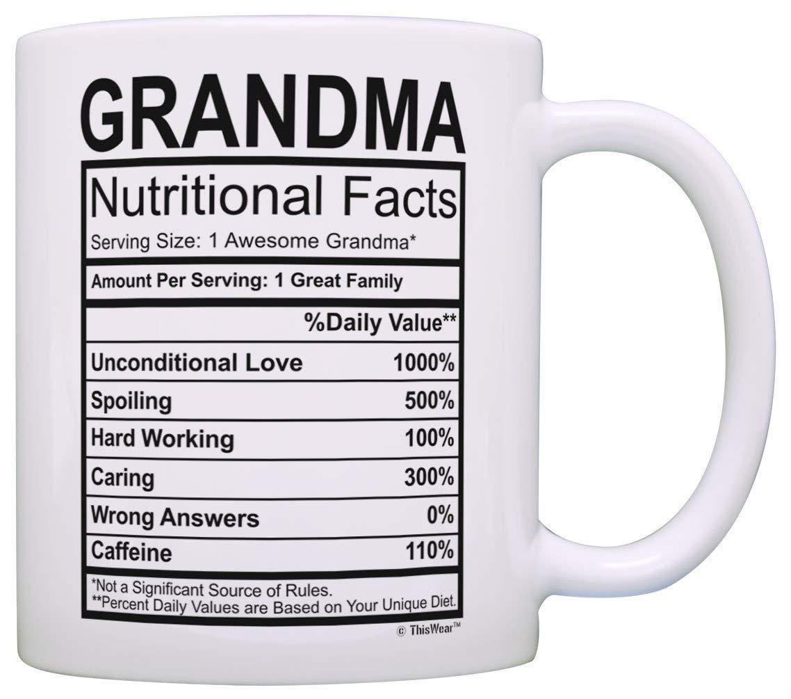mothers day gifts for grandma nutritional facts label funny gifts
