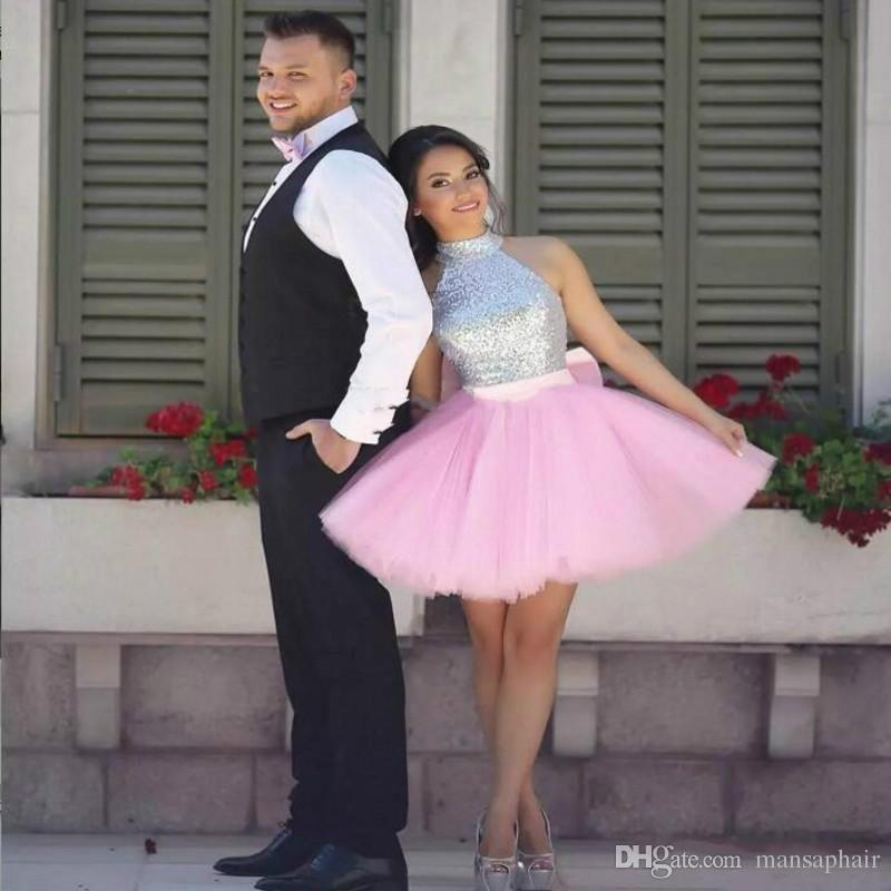 Sparkling Pink Prom Dresses A Line Short Sequined Party Dress Cheap Tutu Skirt Zipper Back Formal Dresses Evening Wear Homecoming Gown
