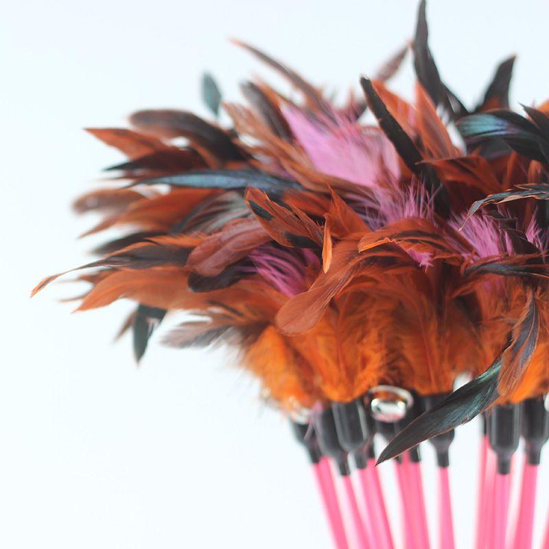 Pet Cat Toys High Elastic Carbon Fiber Electric Paint Fishing Rods Classic Double Bell Plastic Handle Featherstease Sticks 1 4wm Y