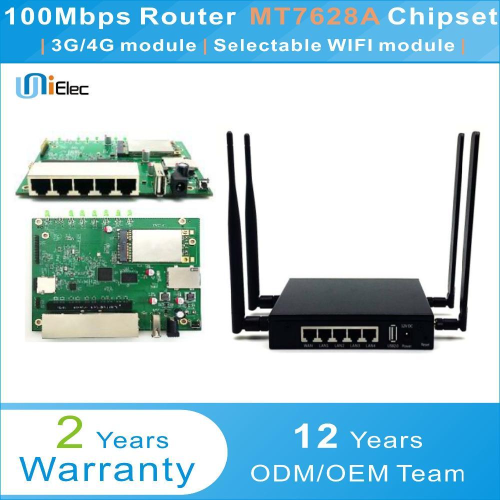 MTK MT7628 2 4G 2T2R AP Router WI-FI OpenWrt MT7612 MT7615 MT7628A Chipset  PCBA ODM OEM Baixo Custo Personalizado Placa de Cartão Sim