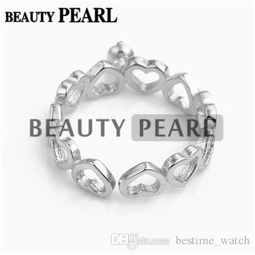 HOPEARL ювелирных изделий качают Pearl Ring сердца Связанный с сердцем 925 Серебрянные Настройки для девочек 3 шт