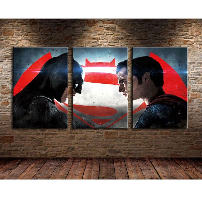 Justice League Superman Vs Batman 3 Pieces Home Decor Hd Print Modern Art Canvas Unframed Framed