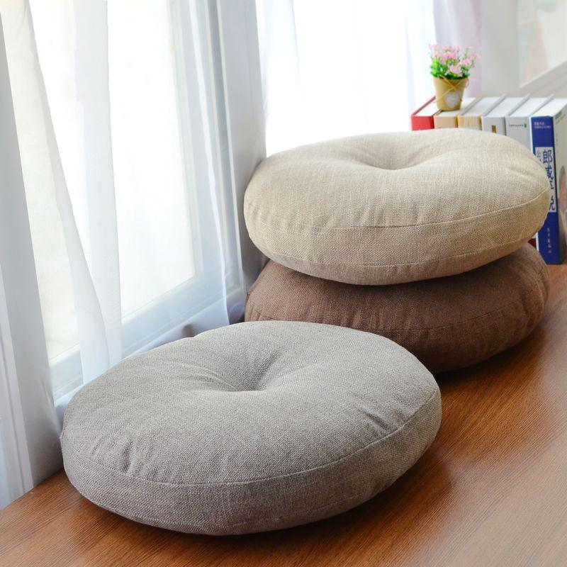 Soft Canvas Round Chair Cushion Seat Pad For Patio Home Car Office