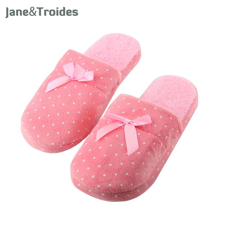 Home Winter Slippers For Women Star Print Bow Decorate Fluffy Floor Flip Flops Soft Plush Anti Slip Fashion Woman Shoes