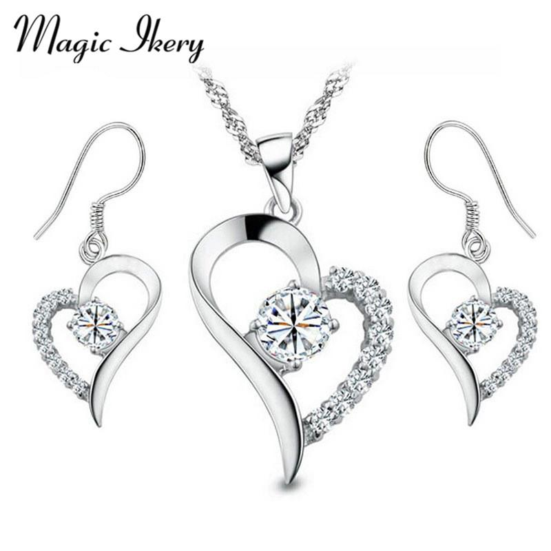 Magic Ikery New 2016 Silver Color Zircon Crystal Wedding bridal Heart Bridal Jewelry Sets Fashion Jewelry for women IKL3587