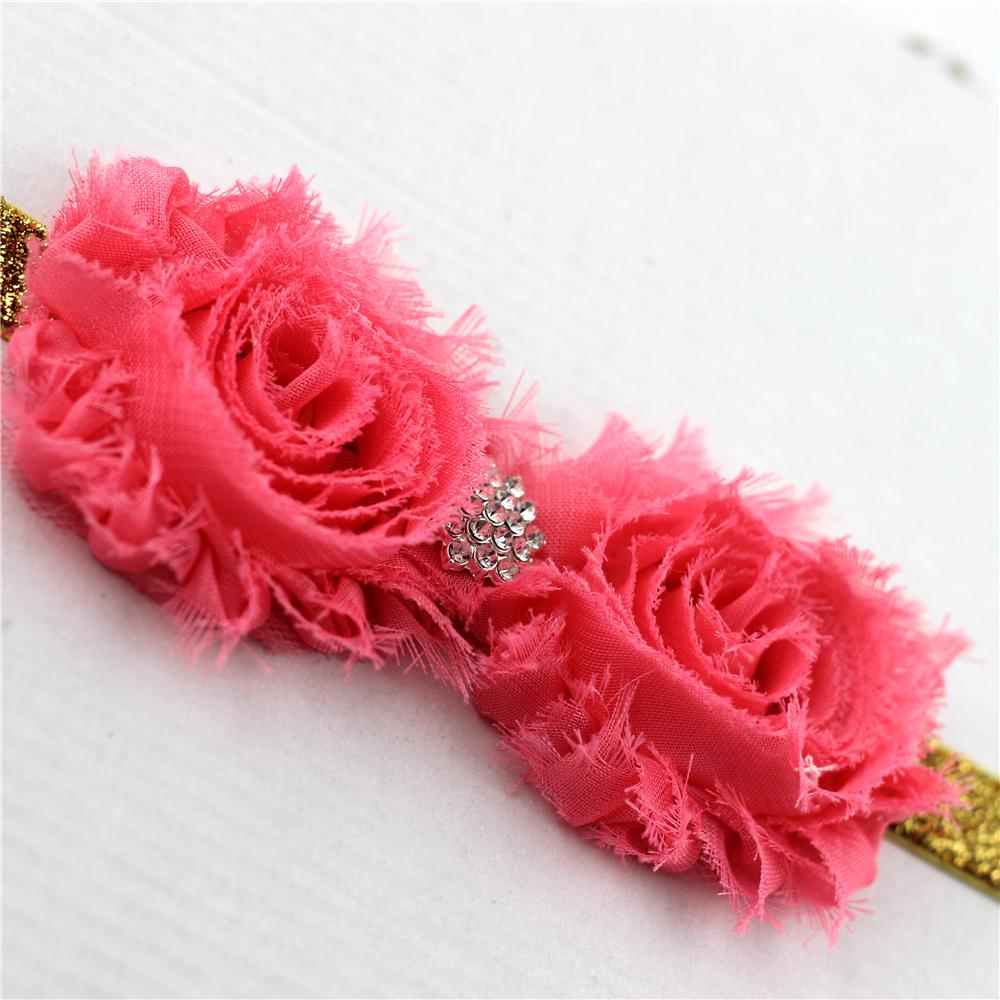 1pc Chiffon flower Headband Girls Coral Shabby Floral With diamond stone Elastic Hairband Kids Shinning Hair accessories