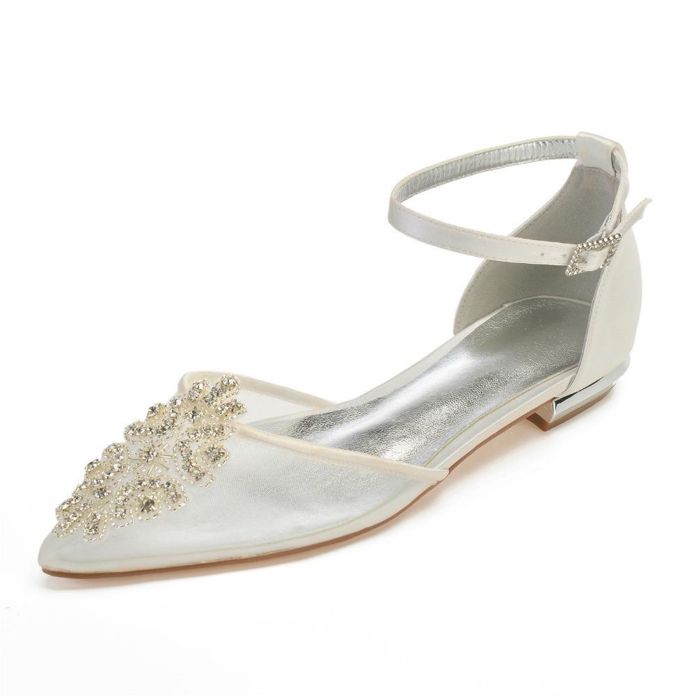 2b820425d7d Creativesugar Lady Satin Mesh Dress Shoes Pointed Toe Ankle Strap ...