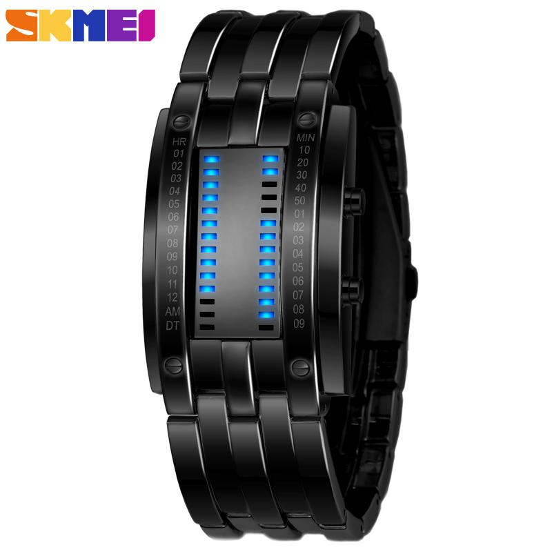 SKMEI Brand Creative Men Fashion Creative Watches Digital LED Display Water Resistant Lover's Wrist Watches Clock Men 2018