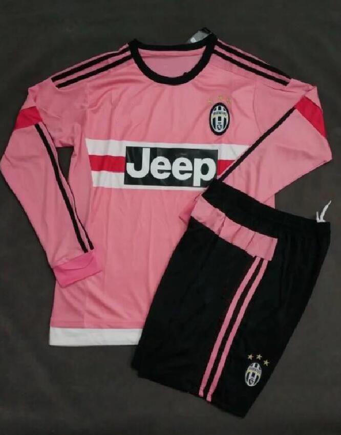 new style f2b52 3e84d 2016 Long sleeve Italy POGBA JUVENTUS SOCCER JERSEYS 15 16 DYBALA MANEZUKIC  MORATA HIGUAIN MARCHISIO BUFFON Pink kits SOCCER FOOBALL SHIRT