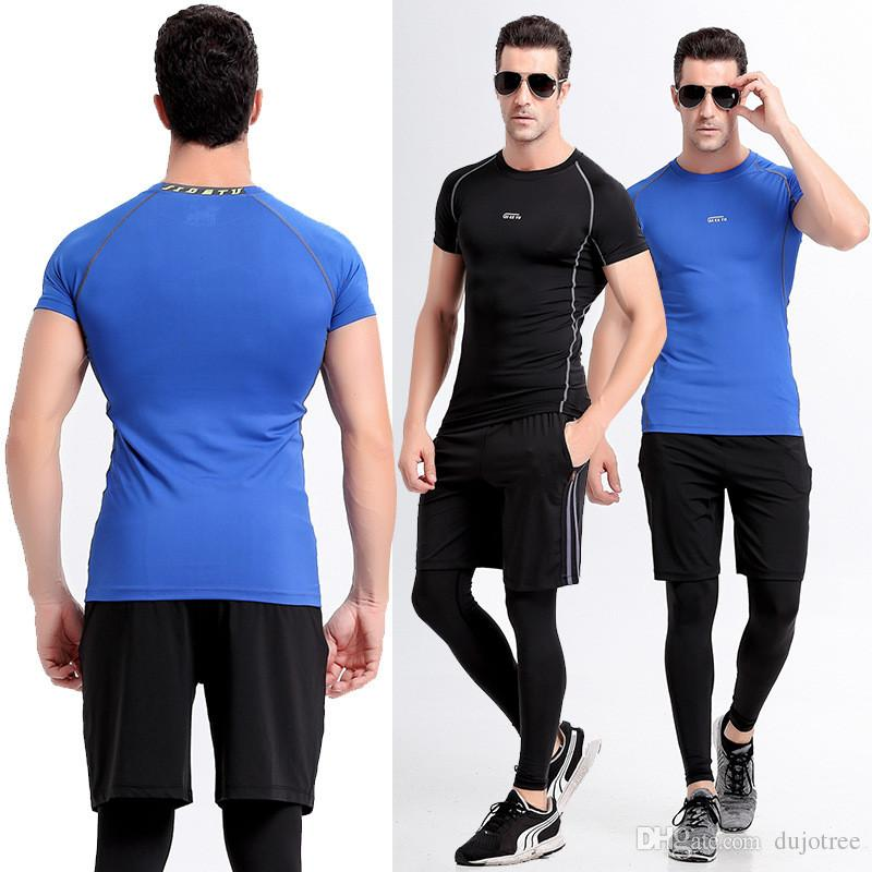 4b1920ff56312 2019 Mens Run Jogging Sportswear Suit Sports Set T Shirt +Leggings + ...