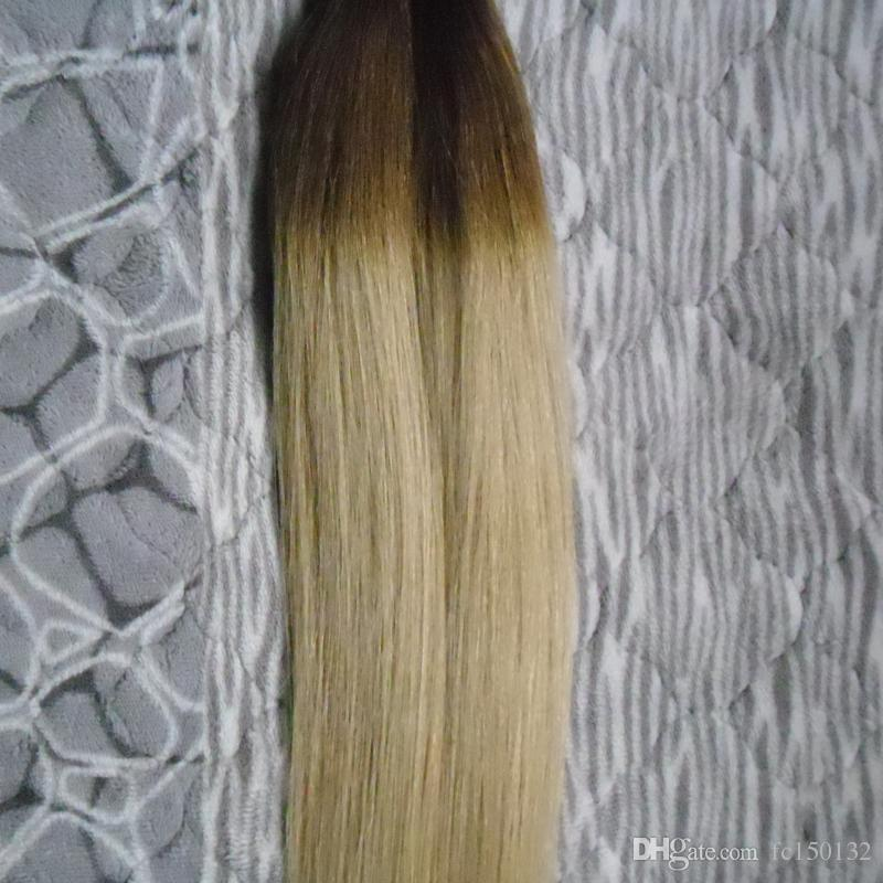 T2/613 Blonde Virgin Hair Straight Ombre Keratin Human Fusion Hair Machine Made Remy Nail Flat Tip Capsule Human Hair Extension 100g/strands