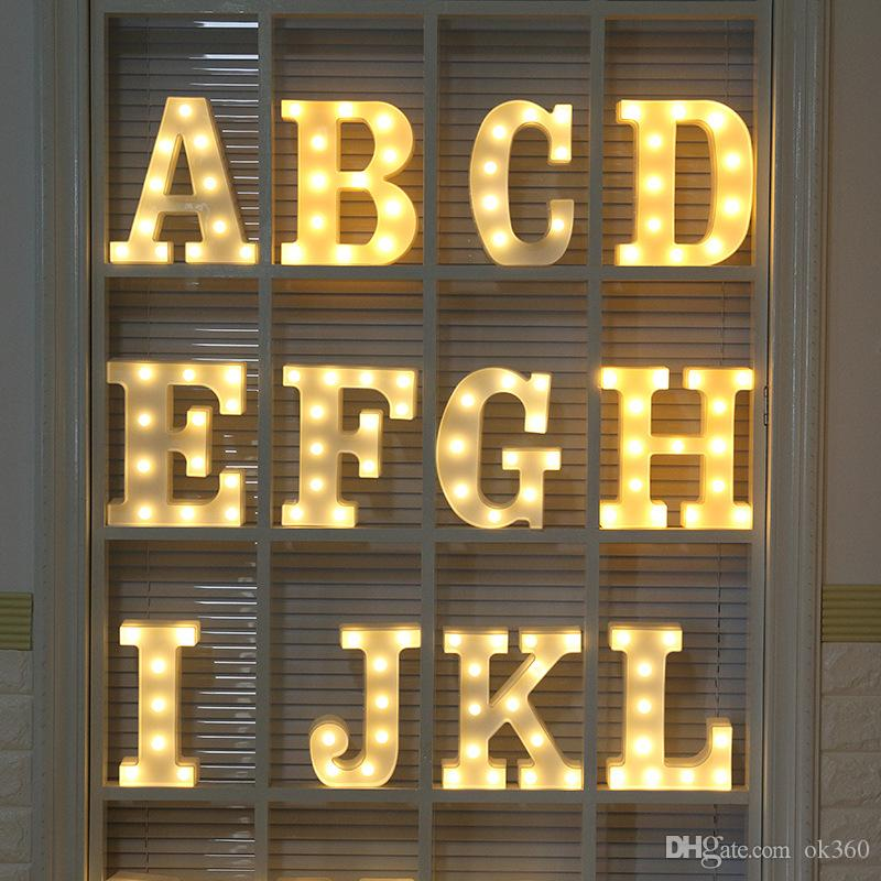 2019 26 Letters Led 3d Light Diy Night Light Kids Gift Marquee Sign Alphabet Lamp For Birthday Wedding Party Bedroom Wall Hanging Decoration From