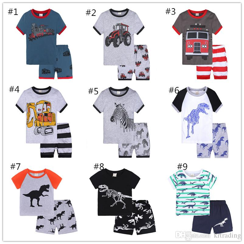 32d12a8c 18 styles Kids pajamas 2pc set short sleeve T shirt+pants truck dinosaur  animal princess printed casual outfits boys girls 1-6T