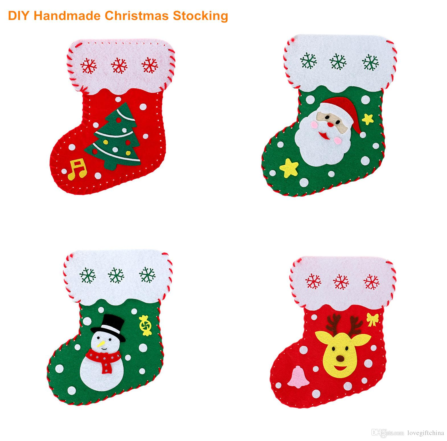 Handwork Diy Christmas Stocks Kindergarten Cartoon Handmade Gifts Candy Storage