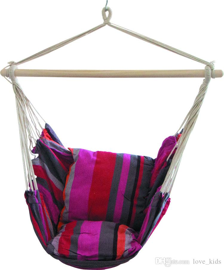 Hanging rope chair-hanging hammock chair-porch swing set-with two cushions-Patio Camping Portable Stripe chair -stand is not included