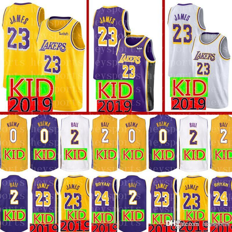 599bbc336 2018 2019 KID Los Angeles Lakers 23 LeBron James 24 Kobe Bryant Jersey New  Youth 2 Lonzo Ball 0 Kyle Kuzma Basketball Jerseys From Heysports