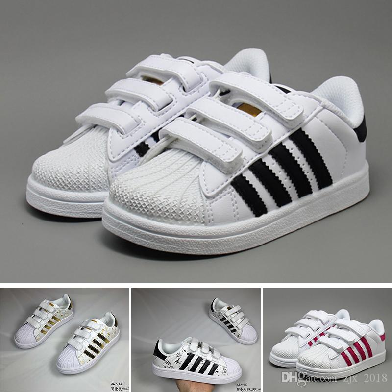 sports shoes 4e766 45480 Compre Adidas Superstar Niños Niños Supersta Zapatos De Bebé Para Niños  Niñas Hook Loop Rosa Negro Multi Samba Blanco Zapatillas Stan Smith  Zapatillas ...