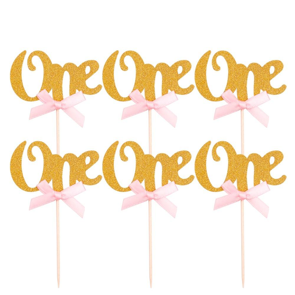 FENGRISE First Birthday Cupcake Toppers Gold Silver Boy Girl Happy 1st Birthday Party Decoration I AM ONE Party Favors Pink Blue