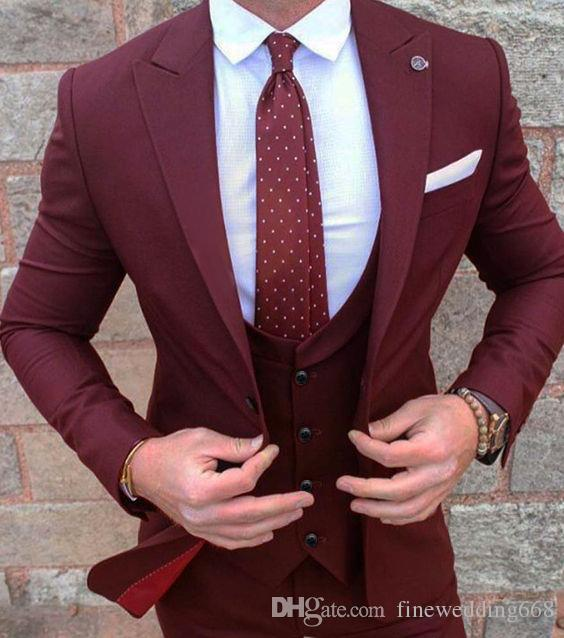 New Style Groom Smoking Groomsmen Wine Vent Slim Abiti Fit Best Man Suit Matrimonio / Abiti uomo Bridegroom (Jacket + Pants + Vest + Tie) NO: 64
