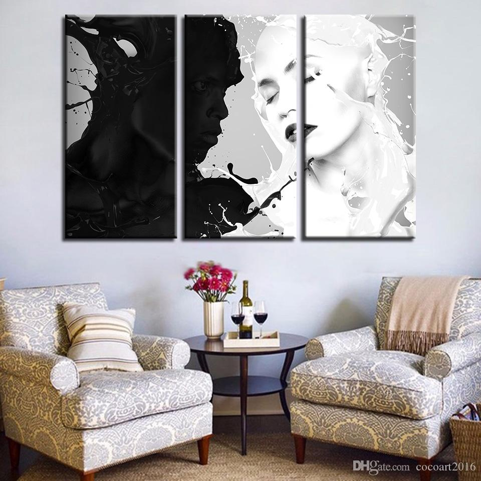 2018 Canvas Prints Poster Home Decor Framed Black And White Figure ...
