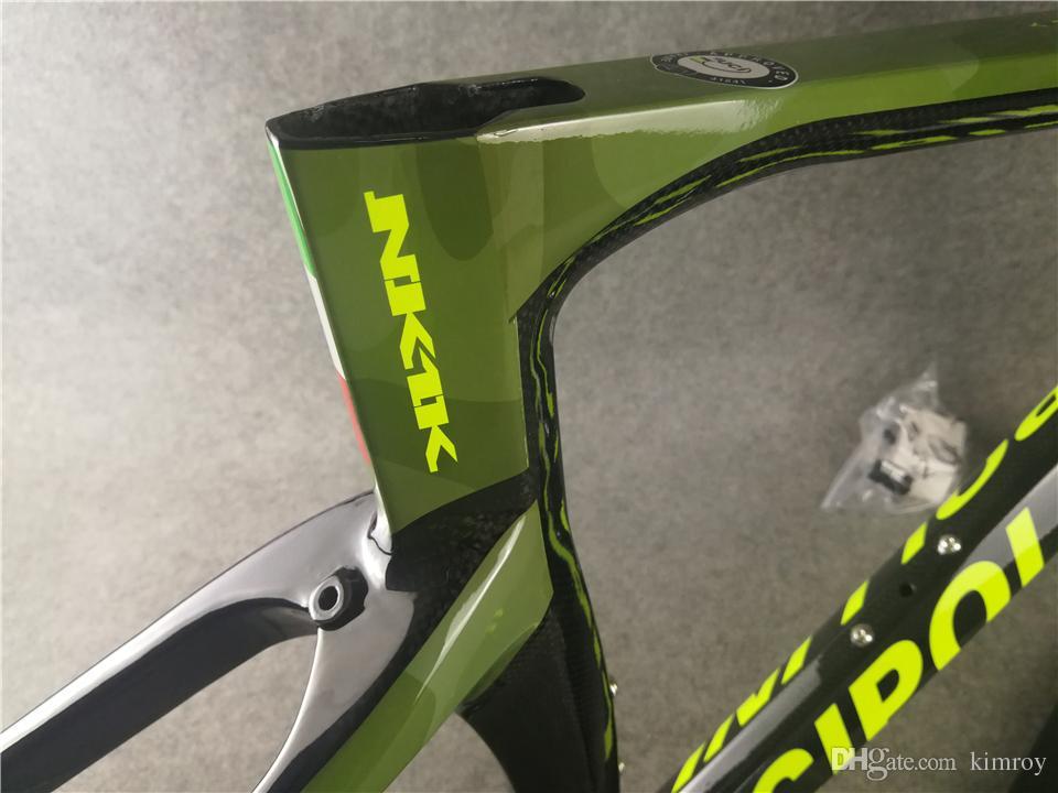 1K / 3K Carbon Cipollini NK1K Rahmen Camouflage Green Carbon ROAD Fahrrad / Fahrrad Frameset Gabel + Sattelstütze + Clamp + Headset