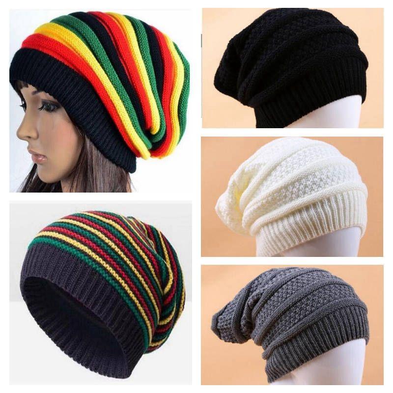 e696182db54cfc Women Winter Warm Hats Girls Jamaican Reggae Wool Cap Fashion Colorful  Stripe Beanies Long Rainbow Knit Hat Pullover Caps YL682 Hats For Men  Snapback Caps ...