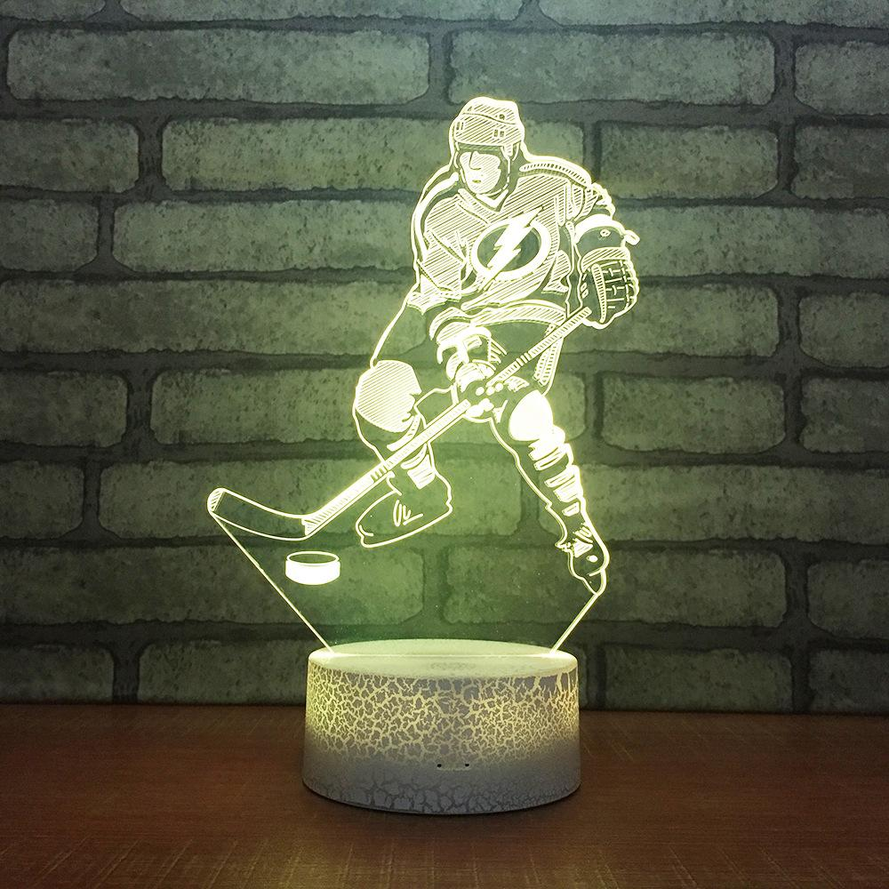 Ice Hockey Usb Plug In Creative 3d Lamp Fancy Acrylic 3d Colorful Night Light Bedside decorative lamp for children's bedroom