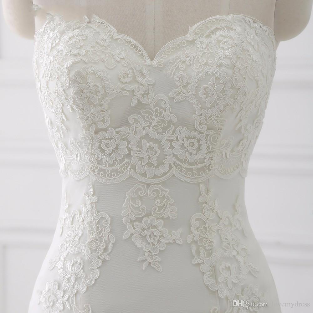 Actual Image Mermaid Lace Wedding Dress 2018 Sweetheart Applique Corset Back Tulle Court Train Wedding Gown Cheap