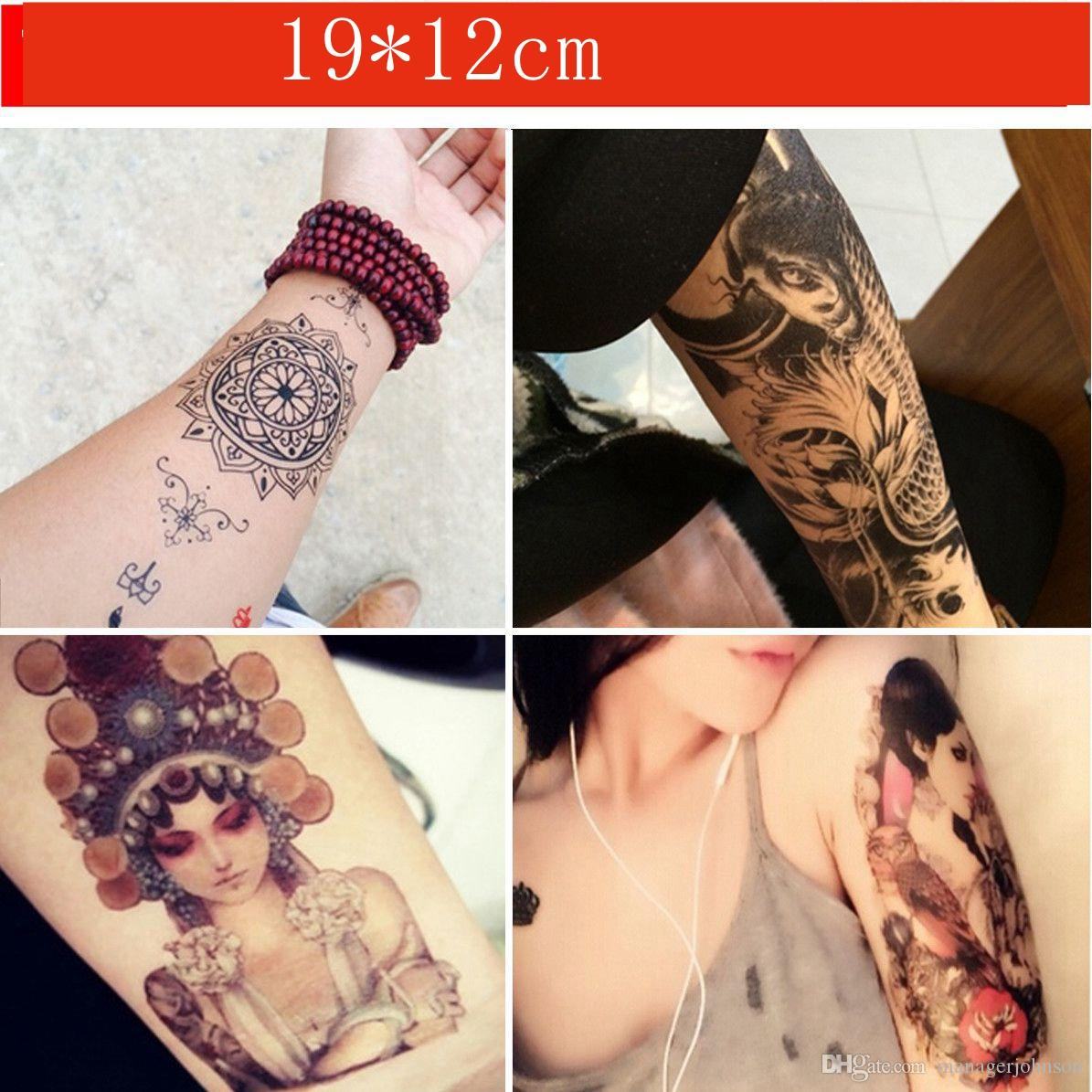 Tatuajes Temporales Impermeable Flor Brazo Esqueleto Humano Carpa Y