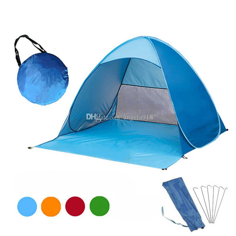 sports shoes fd10f 602d5 Outdoor Quick Automatic Opening Tents Portable Beach Tent Beach Tent Beach  Shelter Hiking Camping Family Tents For 2-3 Person 12colors C4543