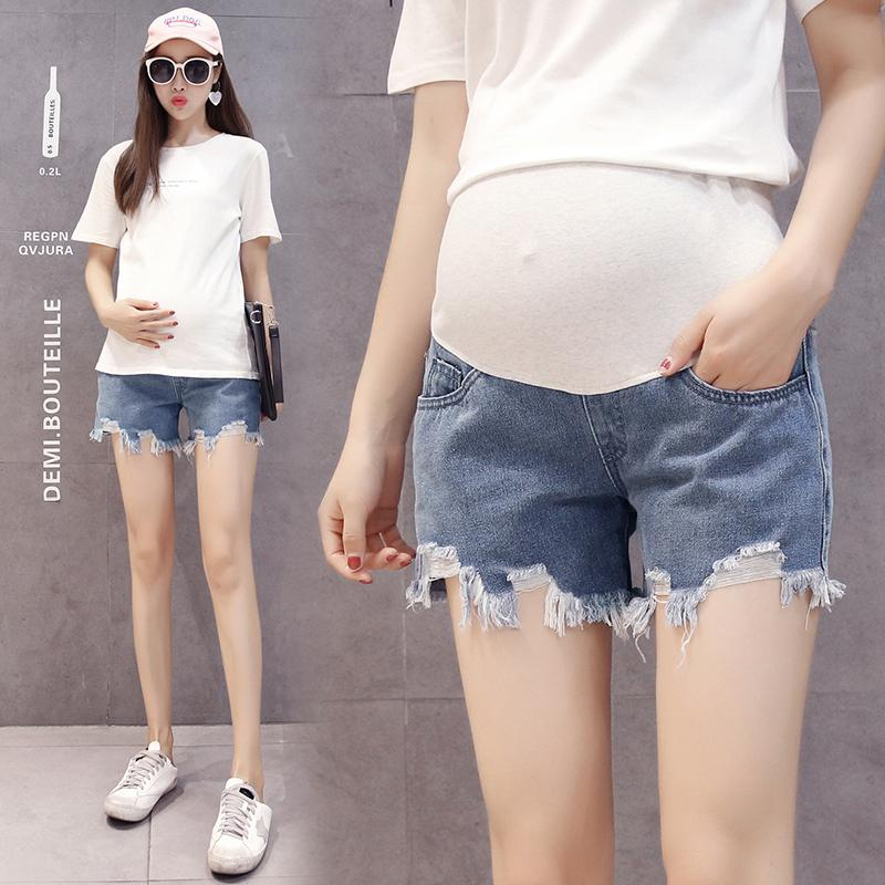 6805d141da7 2019 Summer Fashion Maternity Hot Shorts Washed Denim Short Jeans For  Pregnant Women Elastic Waist Pants Pregnancy Belly Bottoms From Runbaby