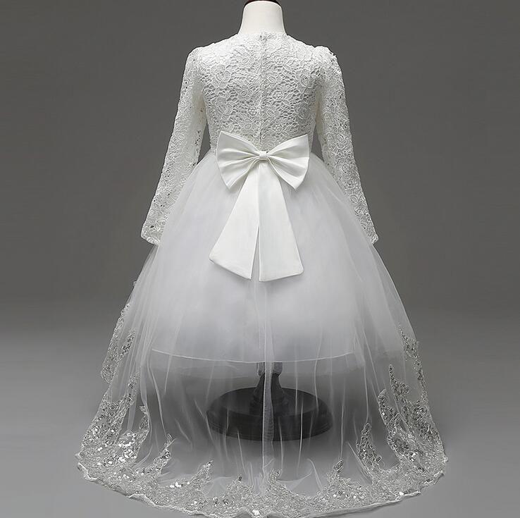 Lovely Girls Long Sleeve Dress White frocks children princess kids Flower party wear girl dress for 4-12 years + gift