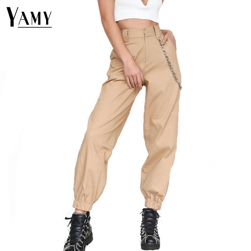 Compre Pantalones De Cintura Alta Mujeres Harem Pantalones Elásticos Con  Cremallera Punk Hip Hop Pantalones Clásicos Para Mujer Pantalones De Chándal  De ... e74b719c15d20