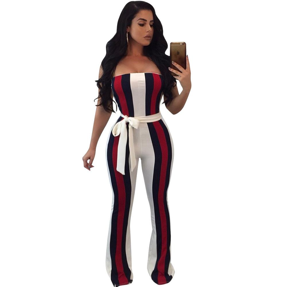 c11e484c821 2019 White Striped Jumpsuits With Sashes Fall 2017 Fashion Sleeveless  Strapless Off Shoulder Sexy Rompers Womens Jumpsuit Overalls Y1891808 From  Shenyan01