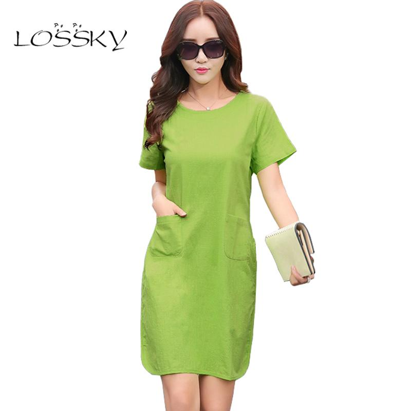 f5bdc822eae7 2019 2017 Summer Women Patchwork Cotton Linen Dresses Short Sleeve Loose  Knee Length Vintage Female Dress Fashion Arts Style Vestido Y1890702 From  Shenyan01 ...