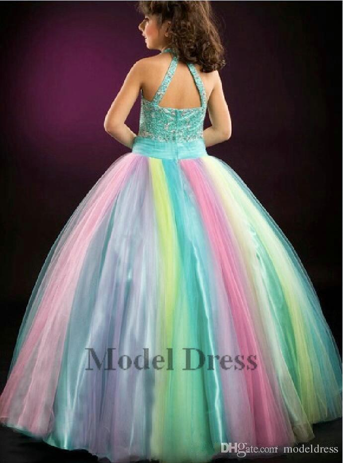 Sfilata della ragazza Abiti da ballo Sfera Tulle Arcobaleno Colore Piano Lunghezza Cristalli Paillettes Bordare Bambini Prom Dresses 2018 Custom Made