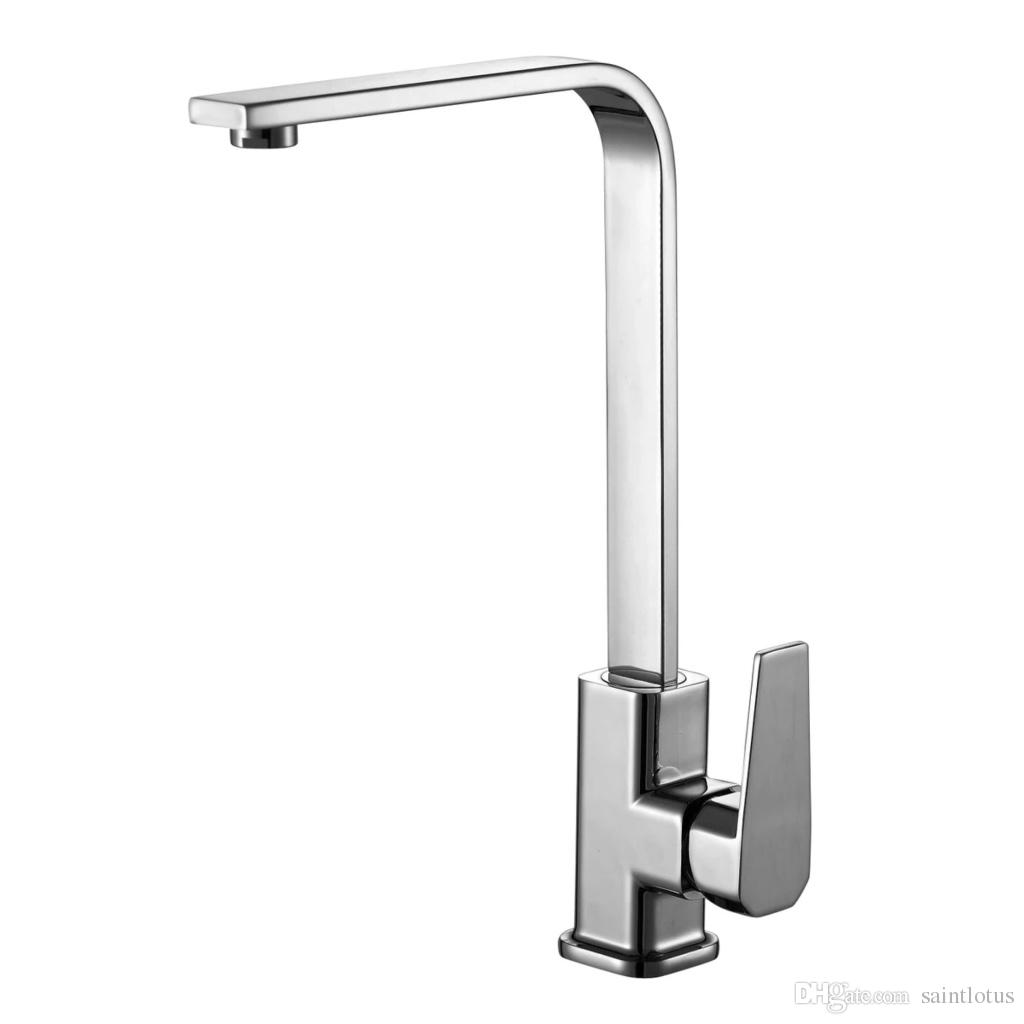 Kitchen Faucet Chrome Brass Deck Kitchen Sinks Faucet High Arch 360 Degree Rotating Swivel Cold Hot Mixer Water Tap