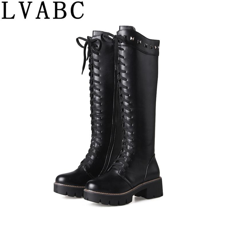 1de45bbacd24 2018 Fashion Women Lace Up Riding Boots Chunky Low Heel Knee High Boots  Buckle Side Zipper Up Winter Shoes Rivets Plus Size 43 Mens Boots Thigh  High Boots ...
