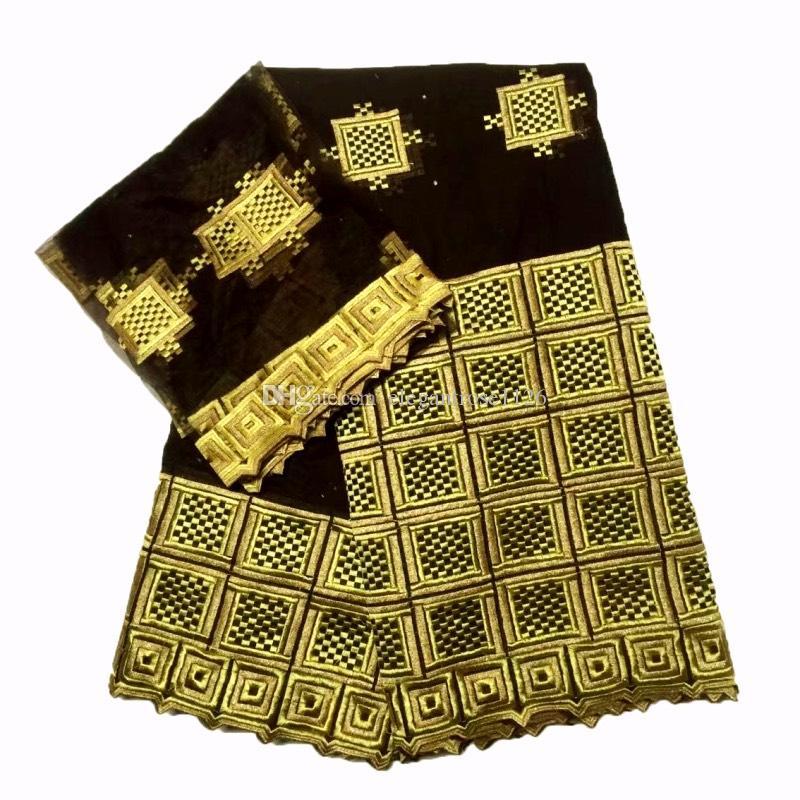 Новый designAfrican кружева ткань швейцарский вуаль хлопок кружева 5 ярдов и 2 ярдов шнурка кружева чистой ткани для партии / свадьба особый случай GYCN0001