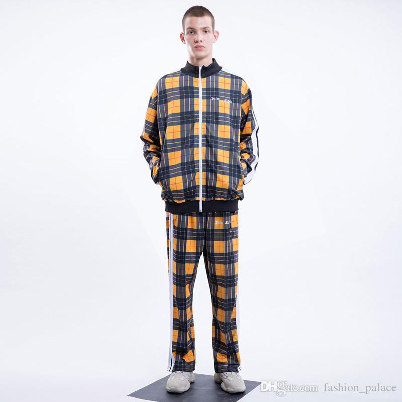 1a16b7b9 2019 Palm Angels Tracksuit Joggers Men Women Yellow Plaid Jacket Pants  Sportswear Long Sleeve Zipper Jackets Coat Elastic Waist Trousers TXH1002  From ...