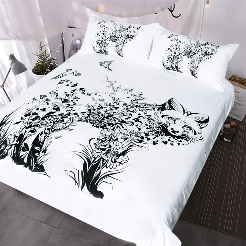 Fox Bedding Set Black And White Duvet Cover Set Wild Animal Bed