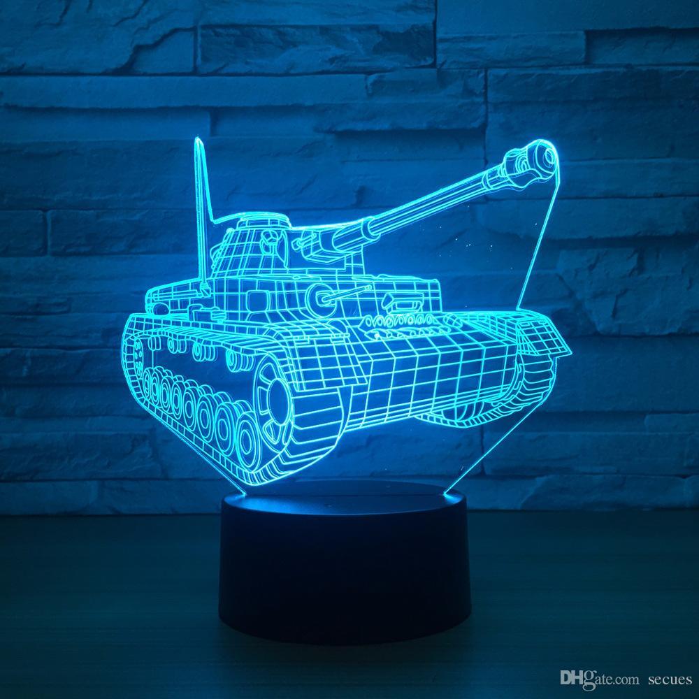 3D Tank Optical Illusion Lamp Night Light DC 5V USB Powered 5th Battery Wholesale Dropshipping Free Shippin
