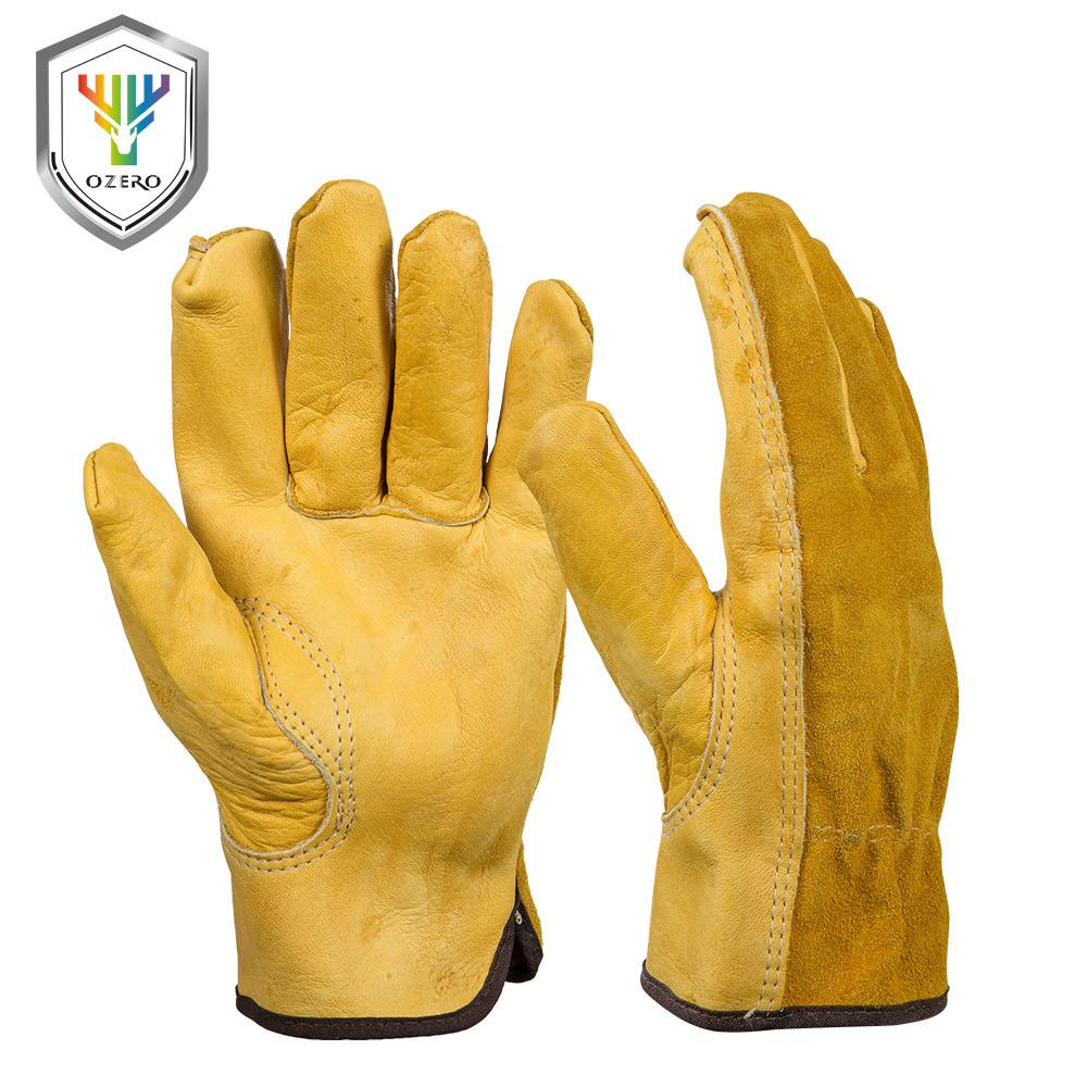 98bd5d0181f89 OZERO Men's Work Gloves Cowhide Driver Security Protection Wear Safety  Workers Welding Moto Hunting Hiking Gloves For Men 0007 D18110705