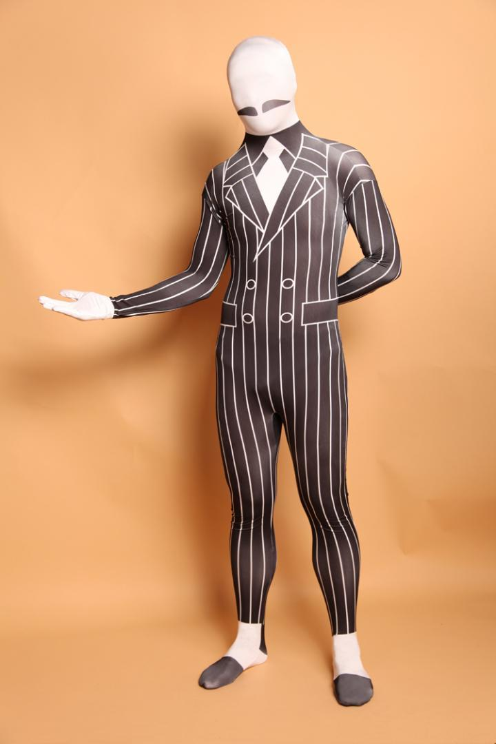 (A5-036)Black White Gentleman Lycra Spandex Zentai Suit Halloween Costume,Fetish Zentai Suits For Party Celebration or Role Play