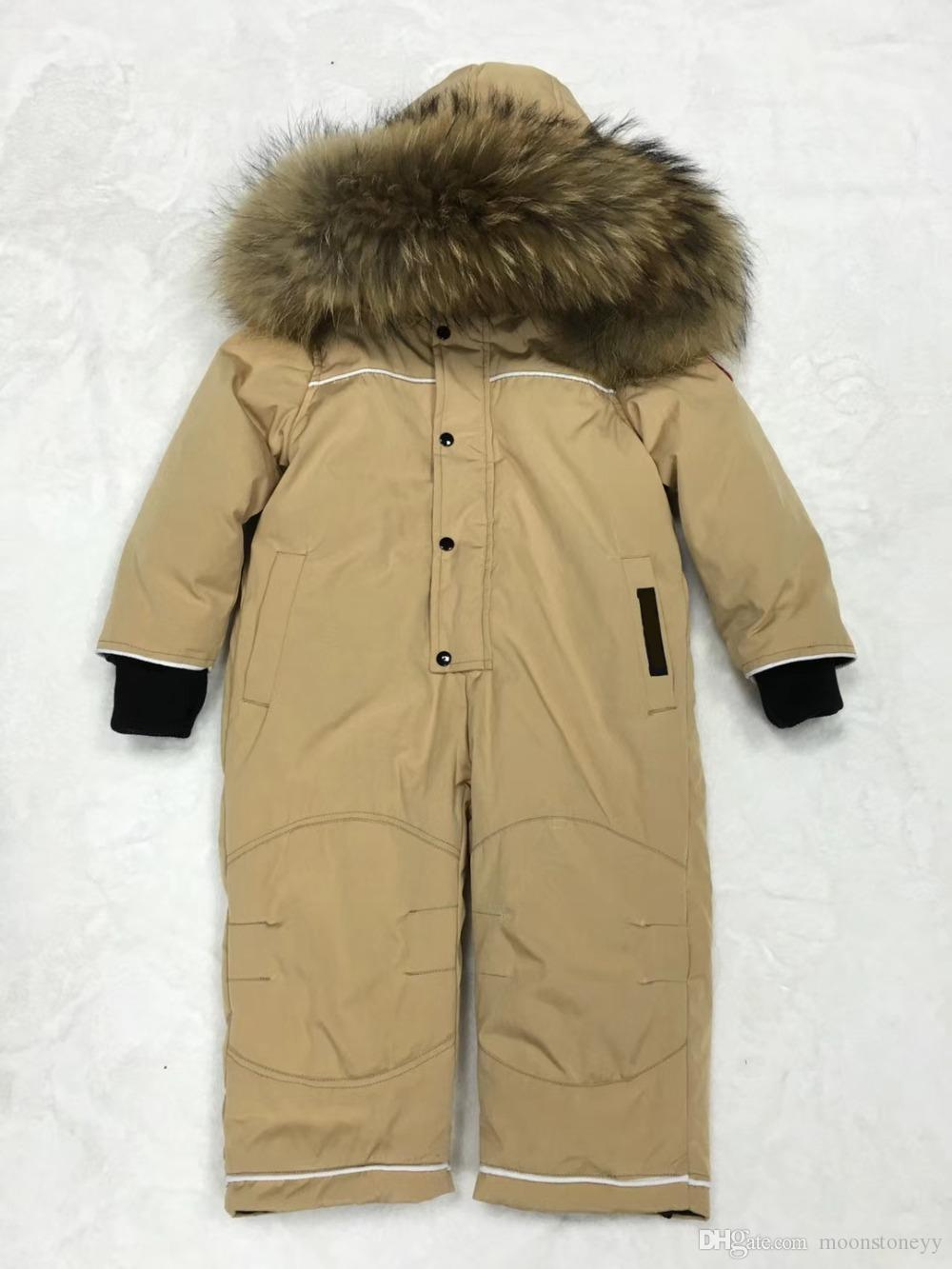 98d4ea239 2019 30 Degree Russian Winter Jumpsuit Duck Down Baby Rompers Fur ...